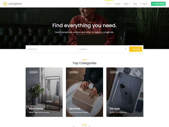 Multipurpose directory theme front page