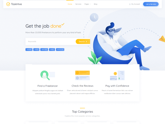 Service marketplace theme front page