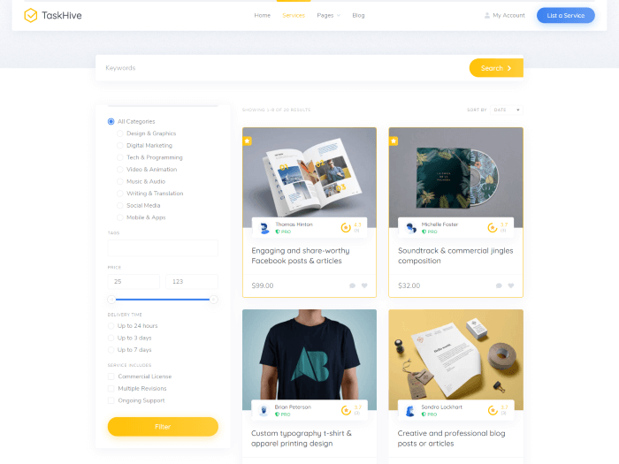 Service marketplace theme search page