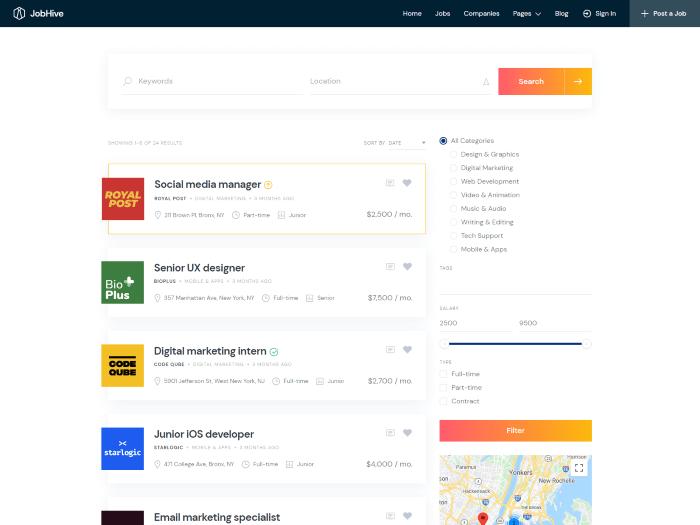 Job board theme search page