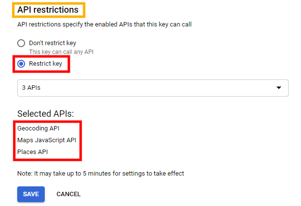 Example of how to add API restrictions