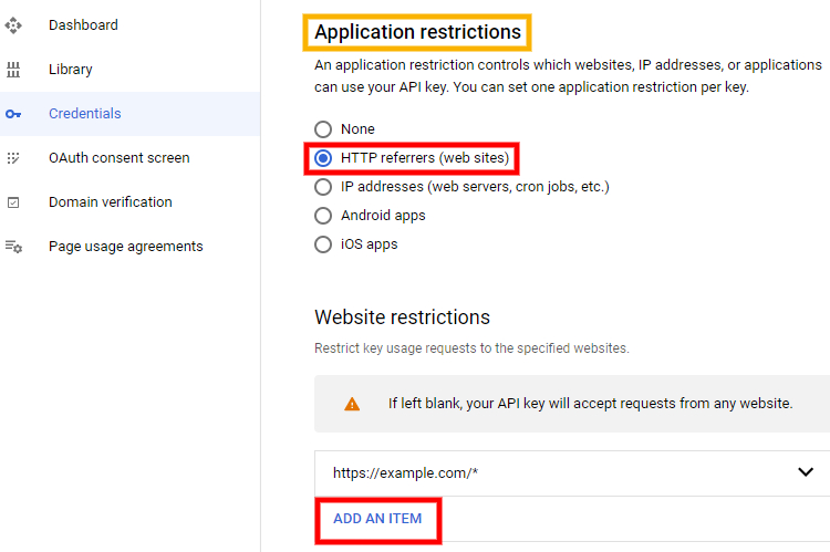 Example of how to add applications restrictions