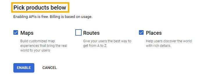 Enabling Google APIs.