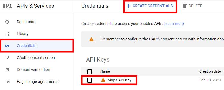 Example of how to create an API Key