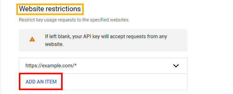 Example of how to add website restrictions for API Key