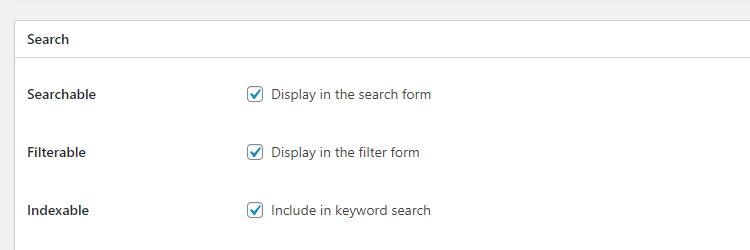 An option to include custom fields in the keyword search.