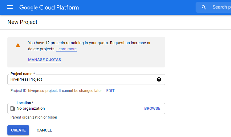 Creating a new project on the Google Cloud Platform.