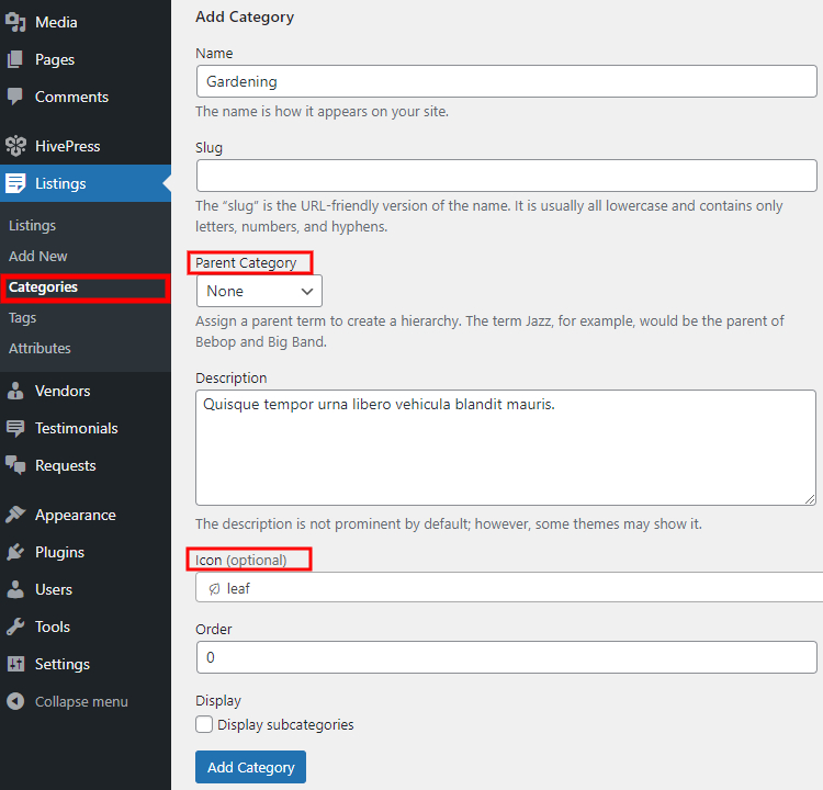 Adding listing categories to the service marketplace.