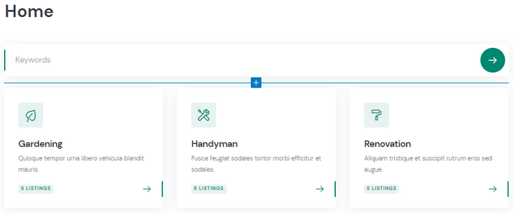 Setting up the front page of the service marketplace.