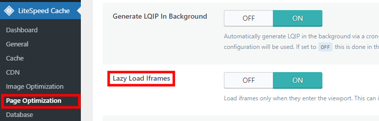 """Optimizing website page content by enabling the """"Lazy Load Iframes"""" option."""