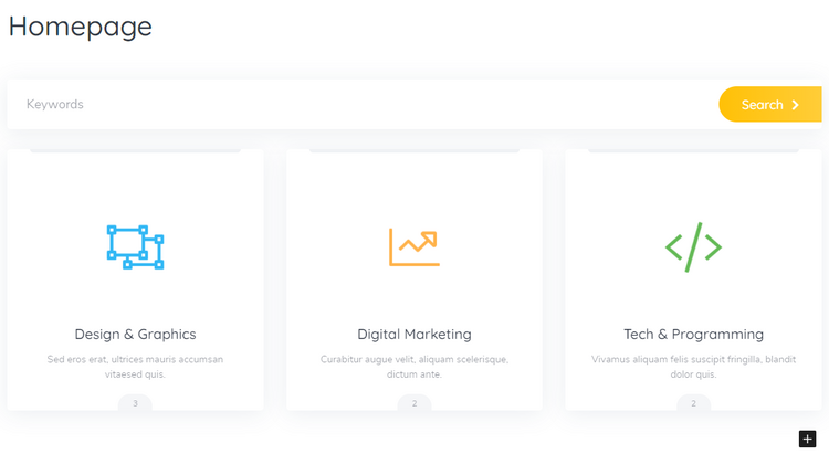 Customizing the front page of the service marketplace.