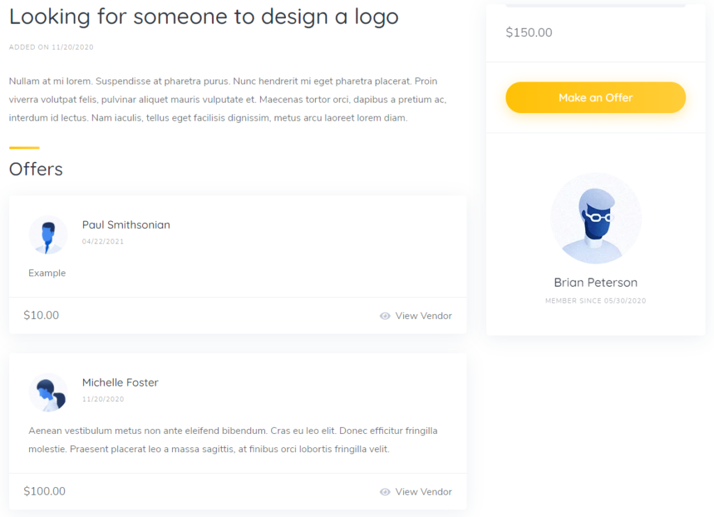 Example of the customer request on the freelancing platform.