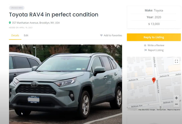 A car dealer website built with WordPress