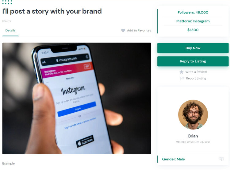 Example of service listed on the influencer marketing platform.