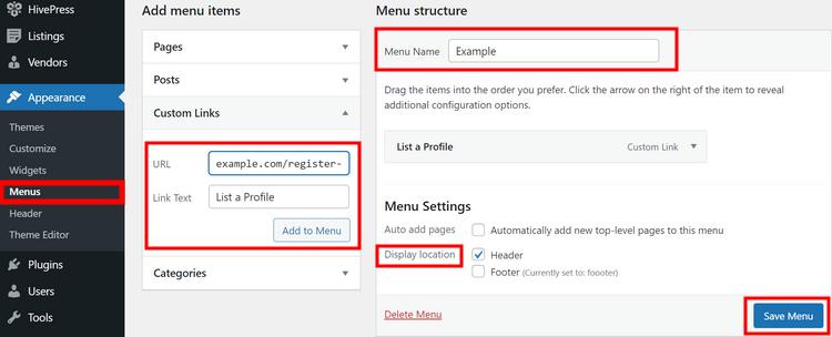 Adding a new menu in the WordPress dashboard.