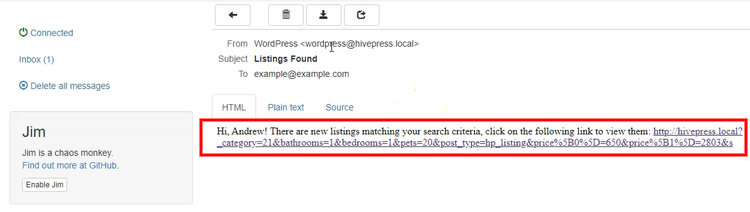 Notification about new listings with matching search criteria.
