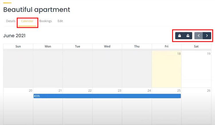 The booking calendar.