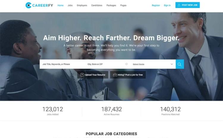 Careerfy, a job listing WordPress theme.