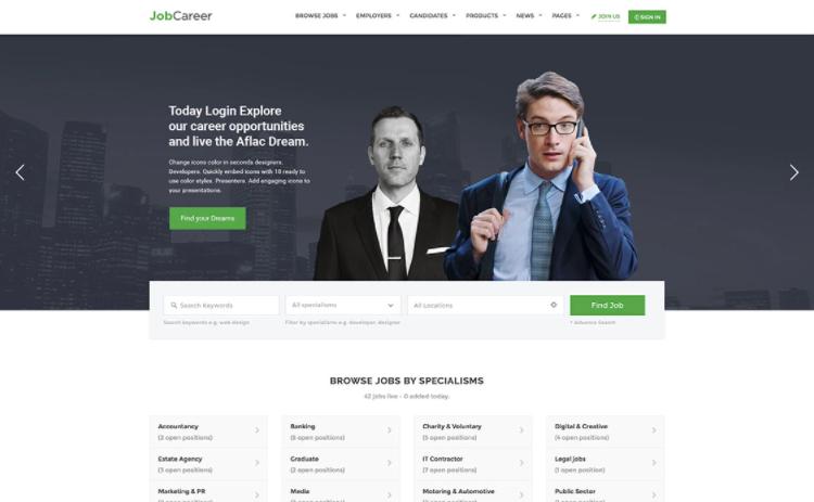 JobCareer WordPress theme.
