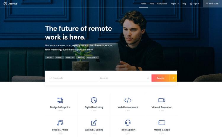 JobHive, a lightweight and clean job board WordPress theme.