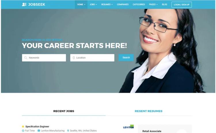 Jobseek WordPress theme.