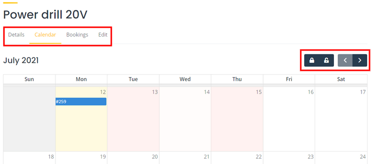 Booking calendar on the booking platform.