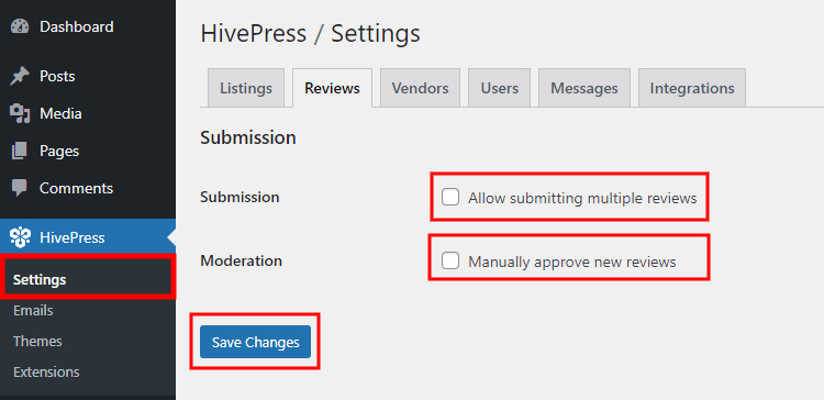 Setting up the HivePress Reviews extension.