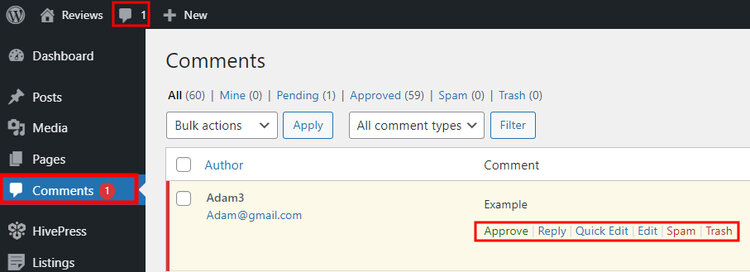 Approving a new listing review on a WordPress website.