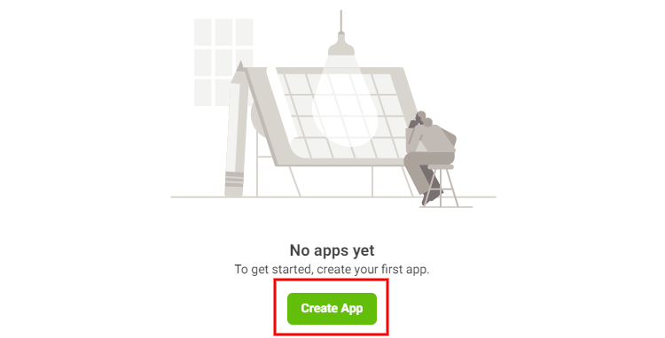 Creating a new Facebook app.
