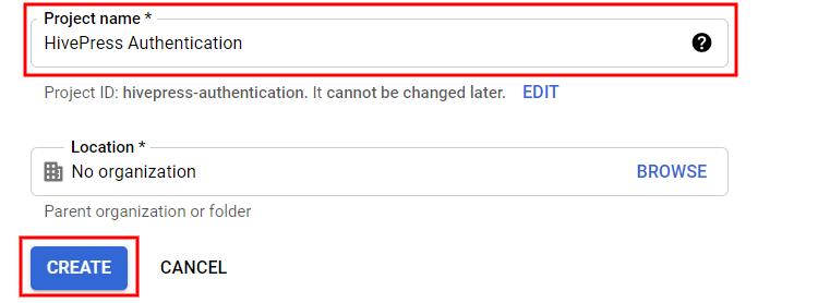 Creating a new Google API project.
