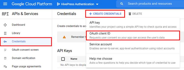 Creating Google API credentials.