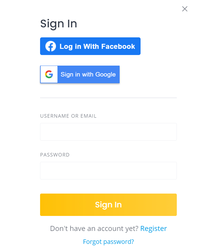 Example of social login buttons at the website registration form.