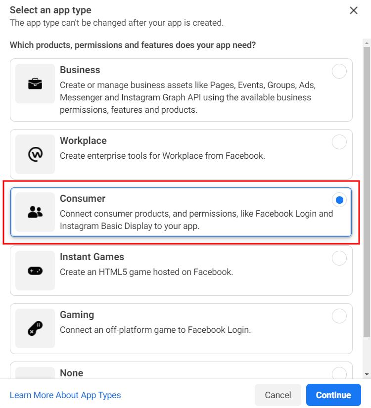 Selecting a Facebook app type.