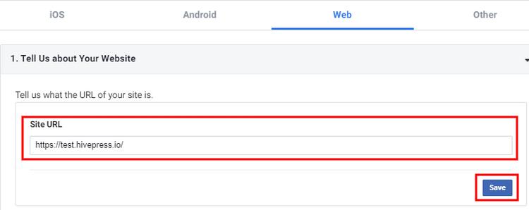 Entering a website's URL during FB app creation.