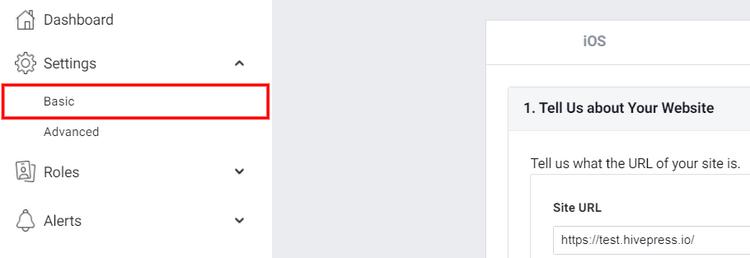 Facebook app's basic settings.