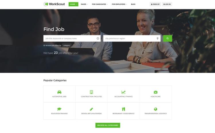 WorkScout, a job board WordPress theme.