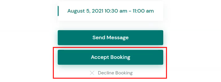 Accepting a booking request.