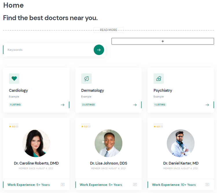 Creating a front page of the doctor appointment website using WordPress.