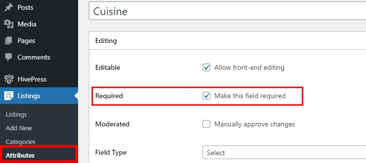 Making a custom listing field mandatory for users.