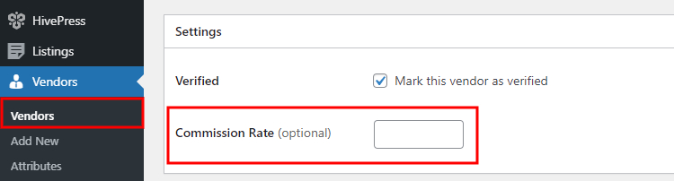 Setting a custom commission rate for an individual vendor.