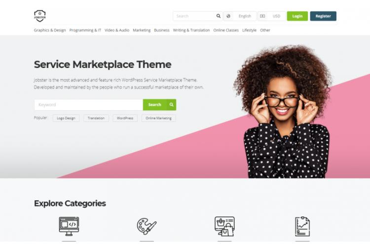 Jobster, a service marketplace WordPress theme.