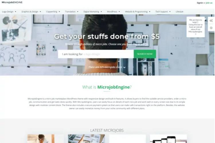 MicrojobEngine, a freelance marketplace WordPress theme.
