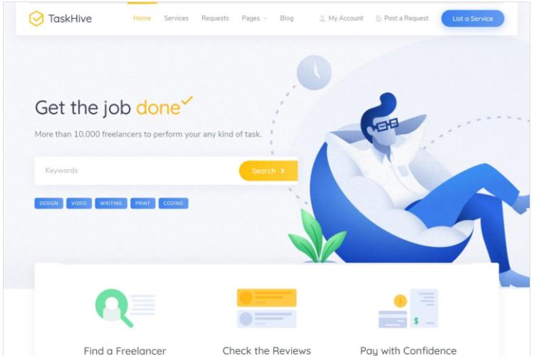 TaskHive, a micro job WordPress theme.
